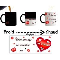 Mug tasse magique Amour Je t'aime personnalisé avec message