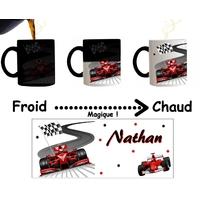 Mug tasse magique Formule 1 personnalisé avec prénom