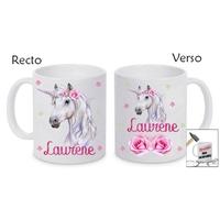 Mug (tasse) incassable Licorne personnalisé avec prénom
