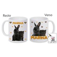 Mug (tasse) incassable Chat et lapin personnalisé avec prénom