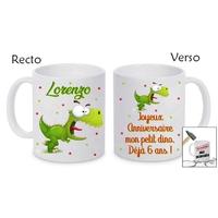 Mug (tasse) incassable Dinosaure personnalisé avec prénom et message