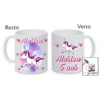 Mug (tasse) incassable Licorne personnalisé avec prénom et message