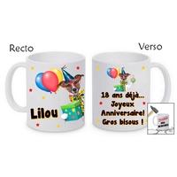 Mug (tasse) incassable Anniversaire personnalisé avec prénom et message