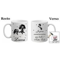 Mug (tasse) incassable Cheval personnalisé avec prénom et message