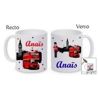 Mug (tasse) incassable Anglais Londres personnalisé avec prénom