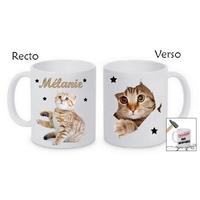 Mug (tasse) incassable Chat chaton personnalisé avec prénom