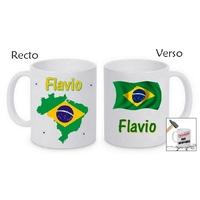Mug (tasse) incassable Brésil personnalisé avec prénom
