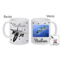 Mug (tasse) incassable Avion de chasse personnalisé avec prénom