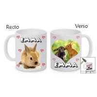 Mug (tasse) incassable Lapin personnalisé avec prénom