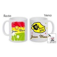 Mug (tasse) incassable La Réunion 974 personnalisé avec prénom