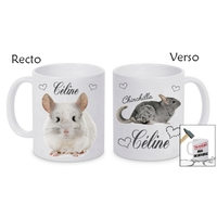 Mug (tasse) incassable Chinchilla personnalisé avec prénom