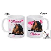 Mug (tasse) incassable Cheval personnalisé avec prénom