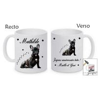 Mug (tasse) incassable Bouledogue français personnalisé avec prénom et message