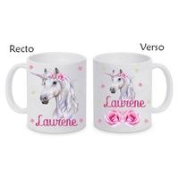 Mug (tasse) céramique Licorne personnalisé avec prénom
