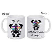 Mug (tasse) Carlin DJ personnalisé avec le prénom et le message de votre choix