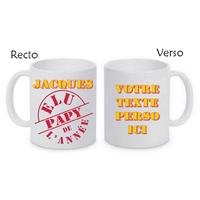 Mug (tasse) Elu Papy de l'année personnalisé avec le prénom et le message de votre choix
