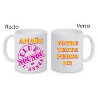 Mug (tasse) Elue Nounou de l'année personnalisé avec le prénom et le message de votre choix