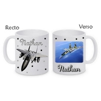 Mug (tasse) Avion de chasse personnalisé avec le prénom de votre choix