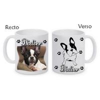Mug (tasse) Bouledogue français personnalisé avec le prénom de votre choix