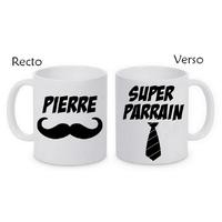 Mug (tasse) Super parrain personnalisé avec le prénom de votre choix