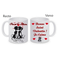 Mug (tasse) Couple amour St Valentin personnalisé avec le prénom et le message de votre choix