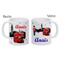 Mug (tasse) Anglais Londres personnalisé avec le prénom de votre choix