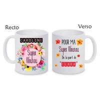 Mug (tasse) Super nounou personnalisé avec le prénom de votre choix