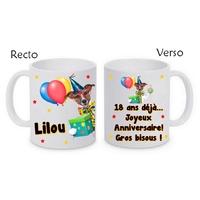 Mug (tasse) Anniversaire personnalisé avec le prénom et le message de votre choix