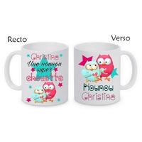 Mug (tasse) Nounou super chouette personnalisé avec le prénom de votre choix