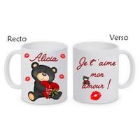 Mug (tasse) Nounours amour St Valentin personnalisé avec le prénom et le message de votre choix