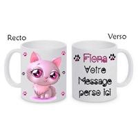 Mug (tasse) Chat beauté personnalisé avec le prénom et le message de votre choix