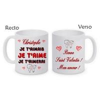 Mug (tasse) Je t'aime Amour personnalisé avec le prénom et le message de votre choix