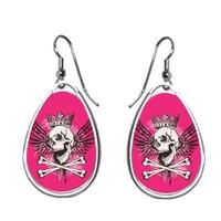 Boucles d'oreilles Tête de mort rose