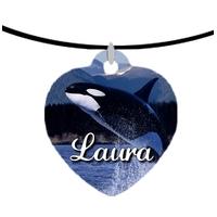Collier pendentif coeur Orque Epaulard personnalisé avec prénom
