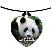 Collier pendentif coeur Panda géant personnalisé avec prénom