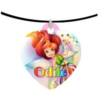 Collier pendentif coeur Fée Multicolore personnalisé avec prénom