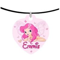 Collier pendentif coeur Fée Fairies personnalisé avec prénom