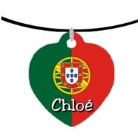 Collier pendentif coeur Portugal personnalisé avec prénom
