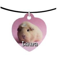 Collier pendentif coeur Cochon d'inde Cobaye personnalisé avec prénom