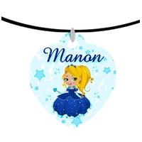 Collier pendentif coeur Princesse personnalisé avec prénom