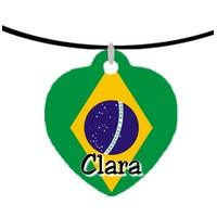 Collier pendentif coeur Brésil personnalisé avec prénom