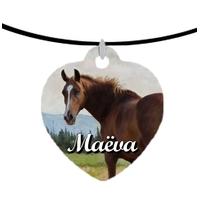 Collier pendentif coeur Cheval Chevaux personnalisé avec prénom