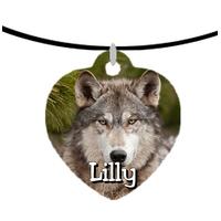 Collier pendentif coeur Loup personnalisé avec prénom