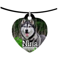 Collier pendentif coeur Husky personnalisé avec prénom