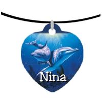 Collier pendentif coeur Dauphin personnalisé avec prénom