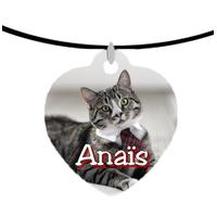 Collier pendentif coeur Chat Chaton personnalisé avec prénom