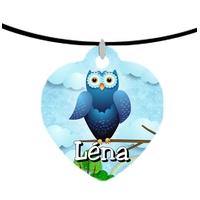 Collier pendentif coeur Chouette Hibou personnalisé avec prénom