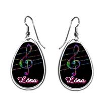 Boucles d'oreilles Musique clé de sol personnalisées avec prénom