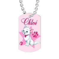 Collier pendentif GI Chat de princesse personnalisé avec prénom
