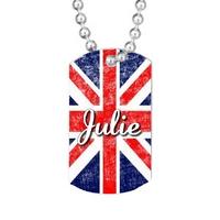Collier pendentif GI Tag Anglais personnalisé avec prénom